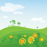 Vector landscape with flowers and blue sky Royalty Free Stock Photography