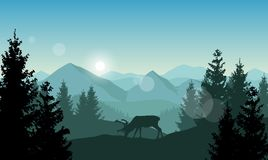 Vector landscape with grazing reindeer in a forest in front of b vector illustration