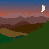 Vector landscape with green brown hills sky and moon Stock Photos