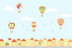 Vector landscape with hot air balloons and town. Vector illustration of landscape with hot air balloons in blue sky in town. Isolated flat cartoon air balloons Royalty Free Stock Image