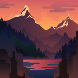 Vector landscape with huge red mountains. Vector sunset landscape with huge red mountains and lake Royalty Free Stock Photo