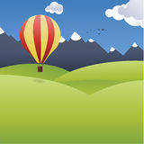 Vector landscape illustration with big baloon. Positive square b. Ackground, Pleasure and happiness. Creative background. Hills, mountain and blue sky with Stock Images