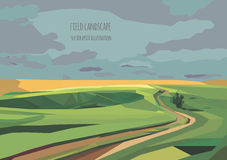 Vector landscape illustration with green field and road Stock Images