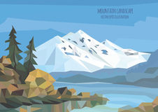 Vector landscape illustration with ice mountains, lake and trees Stock Photo