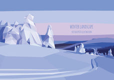 Vector landscape illustration with snow trees and field Stock Images