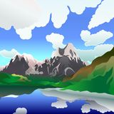 Vector Landscape with mountain lake Stock Image