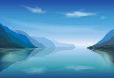 Vector landscape of a mountain lake in the morning. Fog on mountain lake. Vector illustration Stock Photos