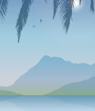 Vector landscape with mountain, lake, palm leaf and two birds. Royalty Free Stock Images