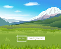 Vector landscape with mountains, blue sky, clouds Stock Images