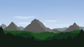 Vector landscape with mountains, hills, forest and blue sky with. Clouds stock illustration