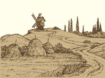 Vector landscape. Old windmill on a hill Royalty Free Stock Photos