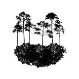 Vector landscape with pine trees Stock Photos