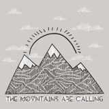 Vector landscape quote typographic poster - The montains are calling. Sketch vector illustration Royalty Free Stock Image