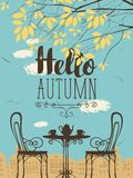 Autumn urban scape with furniture of street cafe. Vector landscape in retro style on the autumn theme with the words Hello autumn, furnished outdoor cafe, two Stock Photo