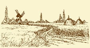 Vector landscape. Road to old windmill Royalty Free Stock Image