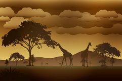 Vector_Landscape_01. It`s a  landscape of Africa. it will use as Illustration, background, wallpaper Royalty Free Stock Photo