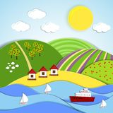 Vector landscape of sea sun and green hills Royalty Free Stock Photography