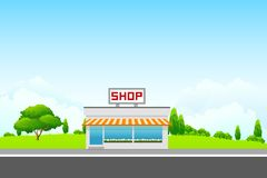 Vector Landscape with Shop Building Stock Image