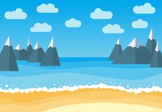 Vector landscape with summer beach and rocks Stock Photo