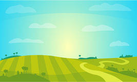 Vector Landscape with Sunny Field . Rural Farm Scenery Illustration. Royalty Free Stock Photography