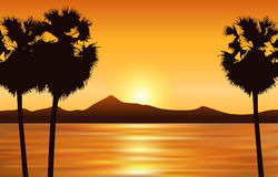 Vector landscape with sunset sea, silhouette of land and palm tr royalty free illustration