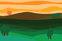 Vector landscape at sunset Stock Photography
