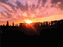 Vector Landscape Sunset. Vector landscape pink sunset over meadow trees stock illustration