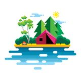 Vector landscape with a tent near the lake with a bonfire. Flat Stock Images