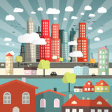 Vector Landscape - Town or City with Cars and Houses Stock Photography