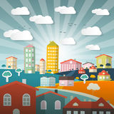 Vector Landscape Town or City Stock Image