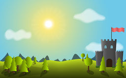 Vector landscape with trees and castle. Vector landscape with trees and castle, moon, day time Royalty Free Stock Image