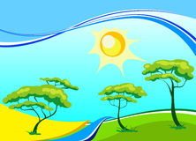 Vector landscape with trees and the sun Royalty Free Stock Photo