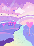 Vector landscape Valentine`s Day. Background for browser games. Beautiful  background with hearts. Pink house with a chimney. From pipe goes smoke and flying Royalty Free Stock Photos