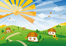 Vector landscape. a village in Stock Photography