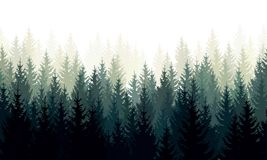 Free Vector Landscape With Green Silhouettes Of Coniferous Trees In The Mist Stock Photography - 140690122