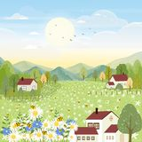 Vector landscapes of cute cartoon village in spring with field and bee collecting pollen on flowers wild flower