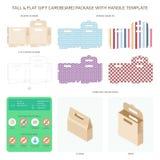 Vector lange en vlakke giftkarton verpakking met geplaatste handvatmalplaatjes stock illustratie