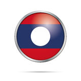 Vector Laotian flag Button. Laos flag in glass button style. Stock Images