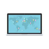 Vector laptop and blue world map with map pointers for communications, logistic and infographics design. Stock Images