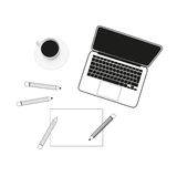 Vector laptop, cup of coffee, pencils and paper Royalty Free Stock Images