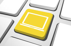 Vector of Laptop Icon on Computer Keyboard Royalty Free Stock Photography