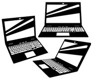 Vector laptop silhouettes Royalty Free Stock Photos