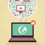 Vector laptop with social media icons Stock Photo