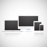 Vector laptop, tablet, monitor and phone Stock Images