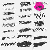 Vector large black ink brush strokes set. Grunge Stock Image