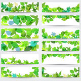 Colorful spring leaves banners stock illustration