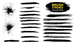 Vector large set different grunge brush strokes. Dirty artistic design elements isolated on white background. Black ink vector brush strokes Stock Photography