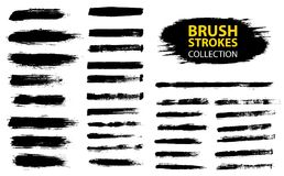 Vector large set different grunge brush strokes. Dirty artistic design elements isolated on white background. Black ink vector brush strokes Royalty Free Stock Images