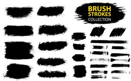 Vector large set different grunge brush strokes. Dirty artistic design elements isolated on white background. Black ink vector brush strokes Stock Photo