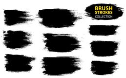 Vector large set different grunge brush strokes. Dirty artistic design elements isolated on white background. Black ink vector brush strokes Stock Image